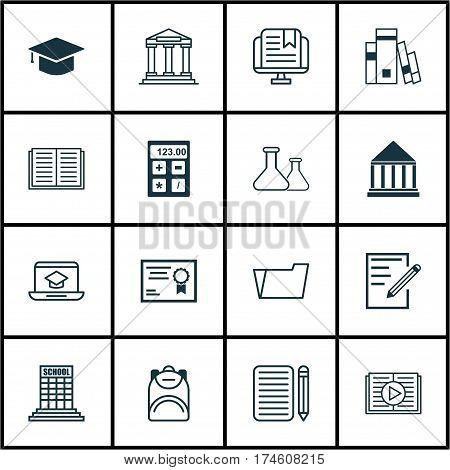 Set Of 16 School Icons. Includes Opened Book, Academy, Haversack And Other Symbols. Beautiful Design Elements.