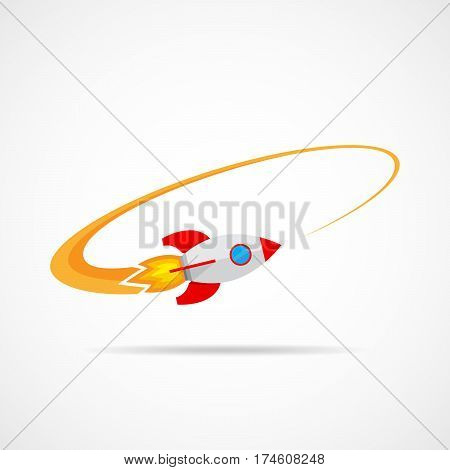 Flying space rocket. Space rocket symbol in flat design. Concept of interplanetary missions. Vector illustration.