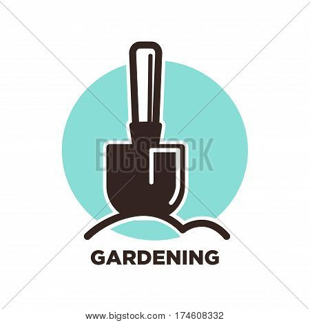 Gardening logo design with spade and ground on background of blue spot. Garden instrument advertisement logotype for agriculture company design. Vector illustration in flat style, digging concept