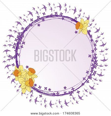 spring vector frame with lilac narcissus and swallows