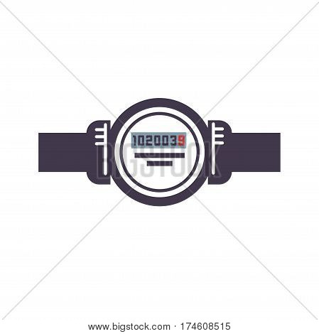Domestic water meter icon isolated on white. Cartoon figure of aqueduct icon for web design. Vector illustration of sanitary equipment, watermeter with pipeline in cartoon style logo graphic styling.