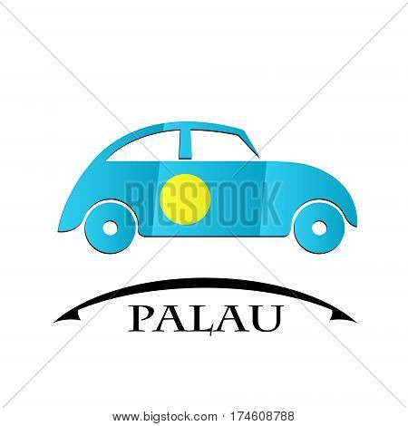 car icon made from the flag of Palau