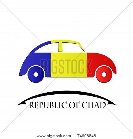 car icon made from the flag of Republic of Chad