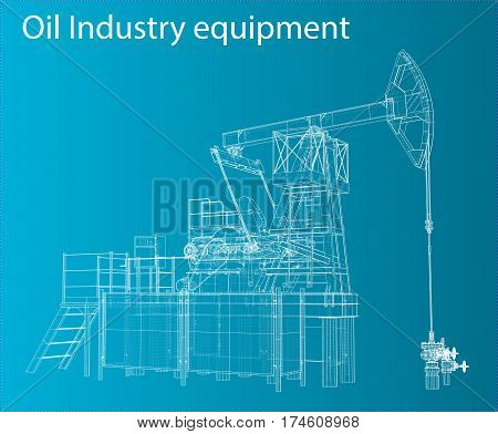 Vector 3D Illustration of Oil Pump. Wire-frame style
