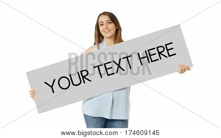 Front view of caucasian woman holding empty blanck board, Your text here, white background, casual style