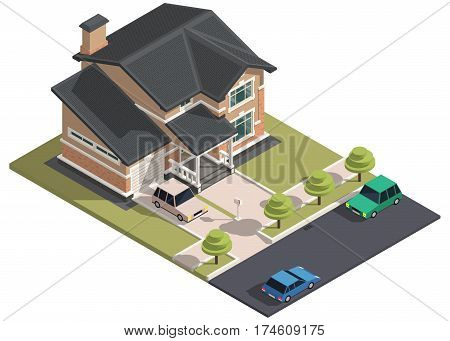 Family House isometry. Hyper detailing isometric view of the house and cars. 3D object for video games or real estate advertising. For Your business. Vetor Illustration