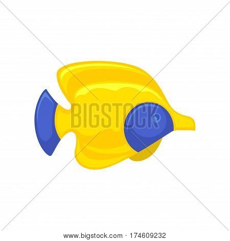 Yellow-blue royal angelfish in flat design isolated on white. Vector illustration of colorful animal living in water and able to swim. Close up icon of exotic fish in yellow color with blue spots
