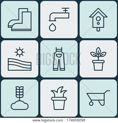 Set Of 9 Agriculture Icons. Includes Bush Pot, Wheelbarrow, Spigot And Other Symbols. Beautiful Design Elements.