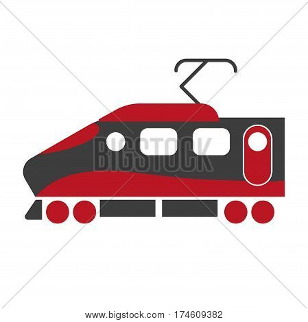 Modern express train locomotive in black and red colors isolated on white background. Railroad transport item for carrying passengers, transportation symbol vector illustration in flat style