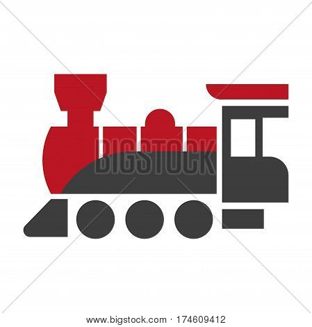Old style steam engine locomotive icon in red and black colors isolated on white. Old fashioned antique railroad transport, works on coal. Vector illustration of retro-styled train in flat design