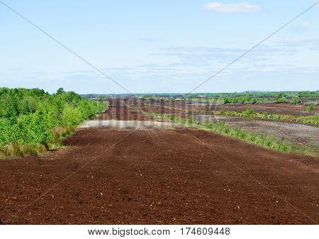 Peat extraction sites in county Kildare Ireland