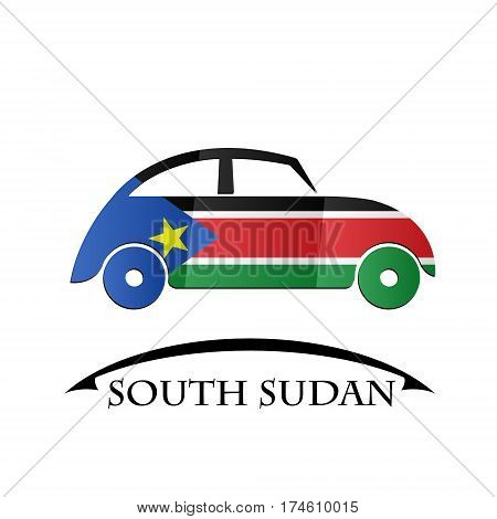 car icon made from the flag of South Sudan