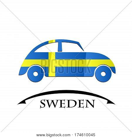 car icon made from the flag of Sweden
