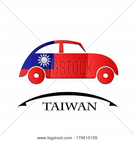 car icon made from the flag of Taiwan