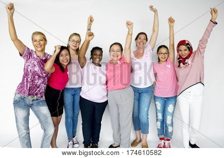 Group of Multiethnic Women Wear Pink Shirt and Pink Ribbon