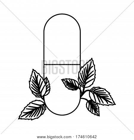 silhouette pill medical in capsule shape with decorative leaves vector illustration