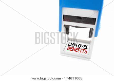 Stamper labeled Employee Benefits on white background