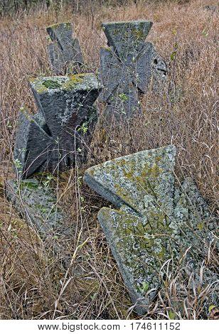 Cross in the cemetery XVIII-XIX centuries. Village Bush Yampolsky region Vinnytsia region Ukraine