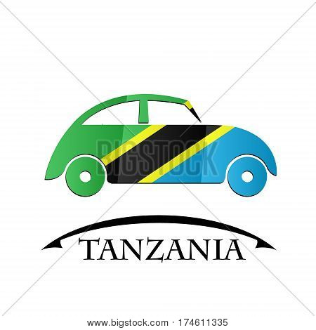 car icon made from the flag of Tanzania