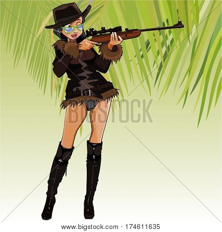 cartoon female hunter aiming with an optical sight rifle