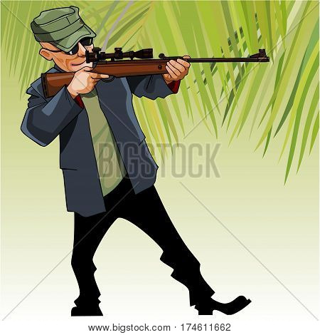 cartoon male hunter aiming with an optical sight rifle