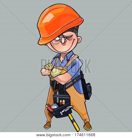 cartoon man in helmet and working clothes with tools standing with crossed arms