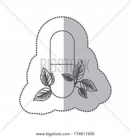 sticker monochrome silhouette pill medical in capsule shape with decorative leaves vector illustration