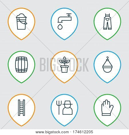 Set Of 9 Planting Icons. Includes Protection Mitt, Hanger, Grower And Other Symbols. Beautiful Design Elements.