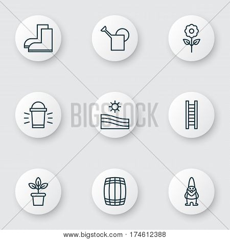 Set Of 9 Farm Icons. Includes Hang Lamp, Bailer, Decorative Plant And Other Symbols. Beautiful Design Elements.