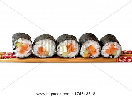 Sushi with chopstick, isolated on white background