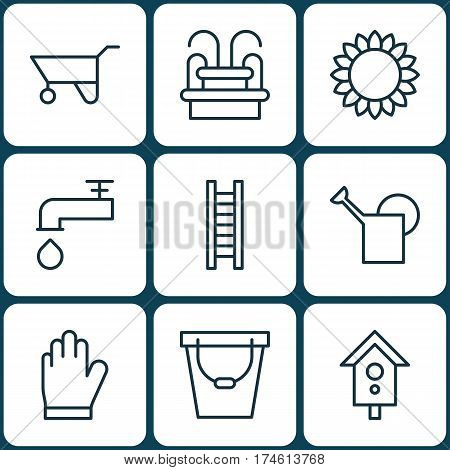 Set Of 9 Gardening Icons. Includes Birdhouse, Wheelbarrow, Spigot And Other Symbols. Beautiful Design Elements.
