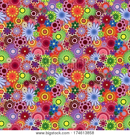 Bright motley flowers in joyous colors seamless vector pattern