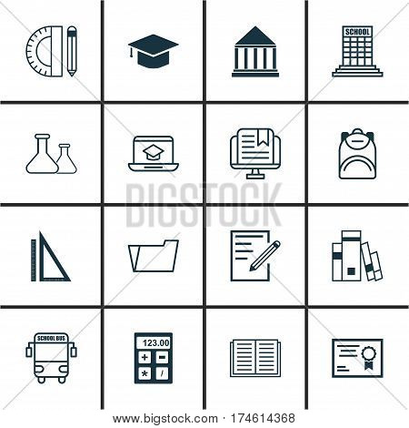 Set Of 16 Education Icons. Includes Graduation, Distance Learning, E-Study And Other Symbols. Beautiful Design Elements.