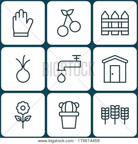 Set Of 9 Holticulture Icons. Includes Spigot, Sweet Berry, Desert Plant And Other Symbols. Beautiful Design Elements.