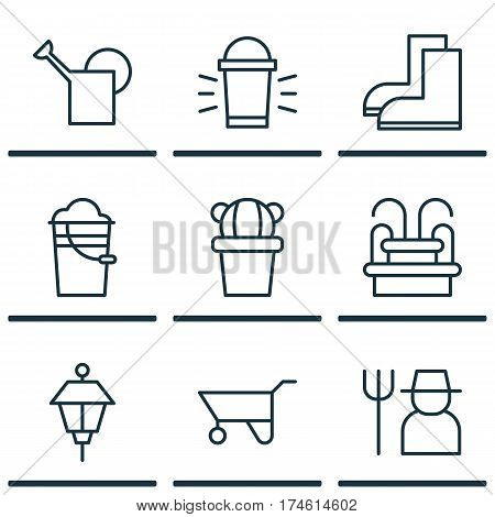 Set Of 9 Planting Icons. Includes Bailer, Bucket, Hang Lamp And Other Symbols. Beautiful Design Elements.
