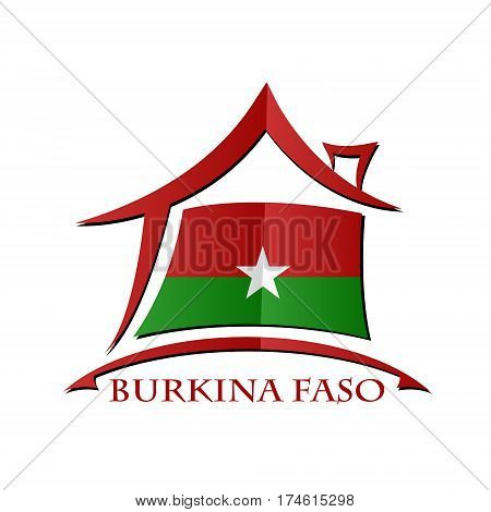 House icon made from the flag of Burkina Faso
