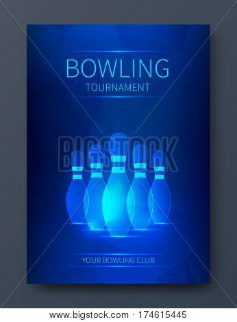 Bowling tournament poster vector template. Flyer with neon bowling skittles.