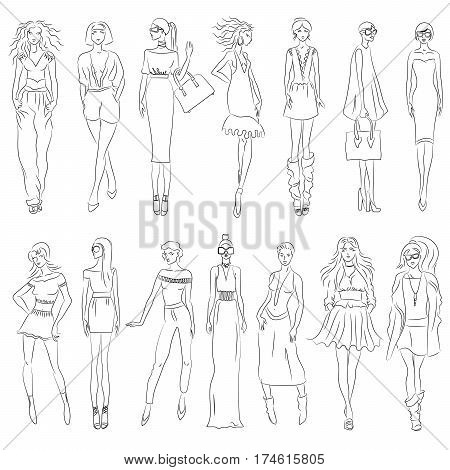 Vector set of fashion models. Free hand sketch. EPS 10
