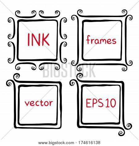 Hand painted ink frames set painted with ink brush. Borders with whimsical swashes. Hand drawn doodle picture frames. Elements for baby shower wedding invitations scrapbook. Doodle vector illustration
