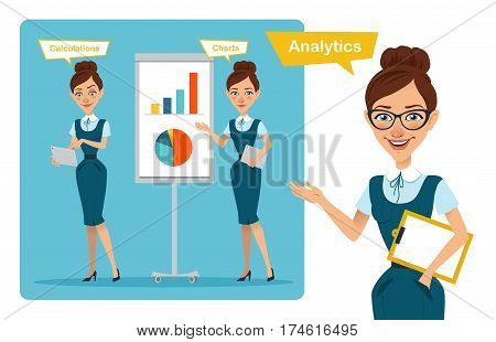 Set of business woman characters poses. Process analytics. Girl speaks and points . Girl shows profit growth graph and girl calculates finance