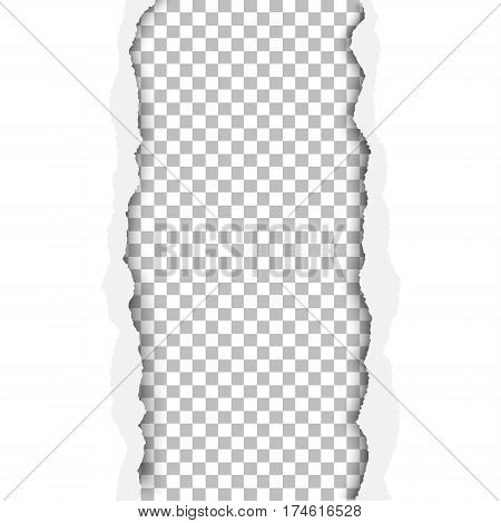 Ragged vertical hole in paper sheet. Main background is white and the resulting window is transparent and checkered. Edges of the hole have soft shadow. Template paper design.