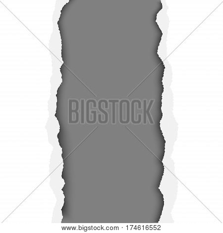 A ragged vertical hole in paper sheet. Main background is white and the resulting window is dark gray. Edges of the hole have soft shadow. Template paper design.