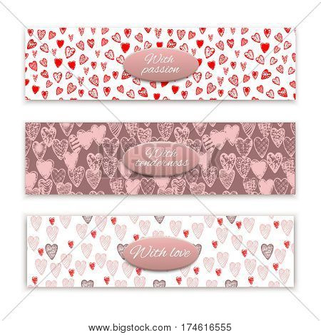 vector textured hand drawn heart banners set