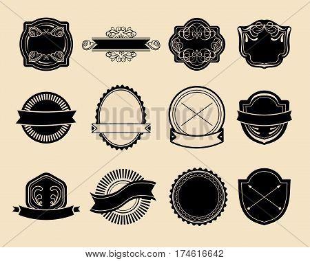 Big vector set of vintage labels, hipster logo elements, ribbons, logotype template