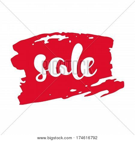 Modern SALE sticker. Label in red and white. Hand written lettering. The word SALE on an ink brush stroke. Calligraphy design element. Sale background. Vector illustration.