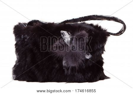 Fur bag isolated on white background black womens bag with fur on white