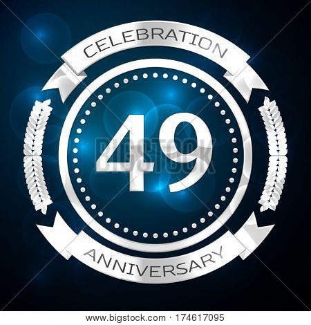 Forty nine years anniversary celebration with silver ring and ribbon on blue background. Vector illustration