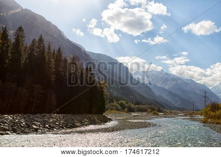 The mountain rivers of the Caucasus. Protected areas of the Caucasus in the vicinity of the village of Dombay