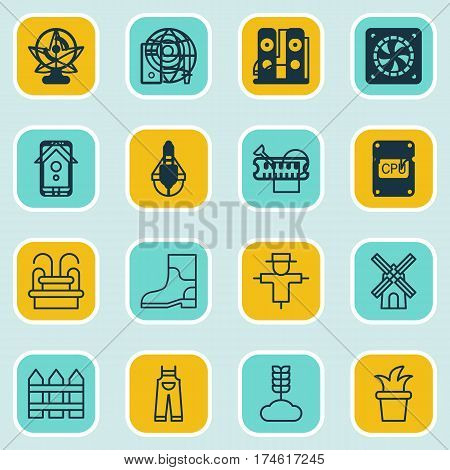 Set Of 16 Farm Icons. Includes Garden Clothes, Bailer, Water Monument And Other Symbols. Beautiful Design Elements.