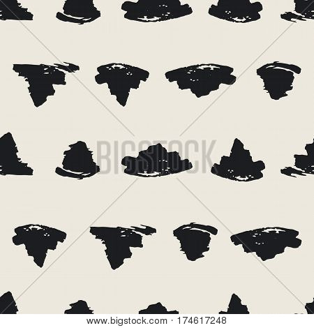 Seamless pattern with hand drawn shapes background. Random brush strokes. Black beige texture. Geometric graphic design element. Scrapbook wallpaper. Vector illustration